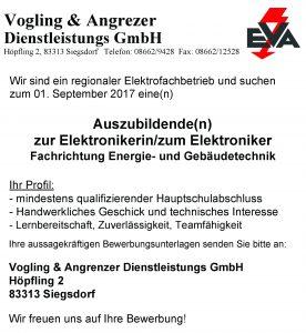 Stellenanzeige - Ausbildungsplatz EVA - 01.09.2017 (Elektroniker)